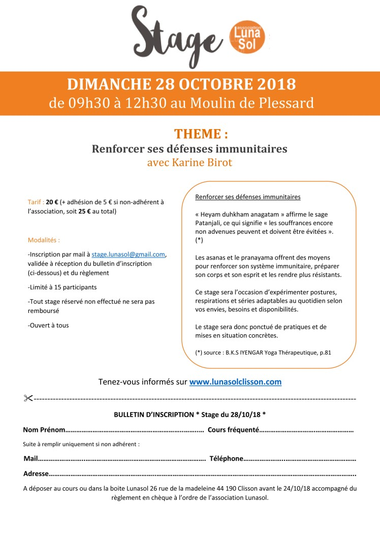 stage 28 octobre 2018